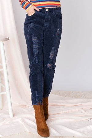 Roya Ripped And Cropped Corduroy Pants (PRE-ORDER)