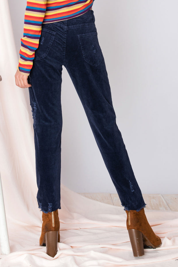 storets.com Roya Ripped And Cropped Corduroy Pants
