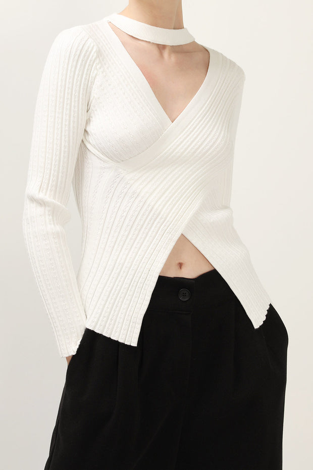 storets.com Tessa Ribbed Choker Knit Top
