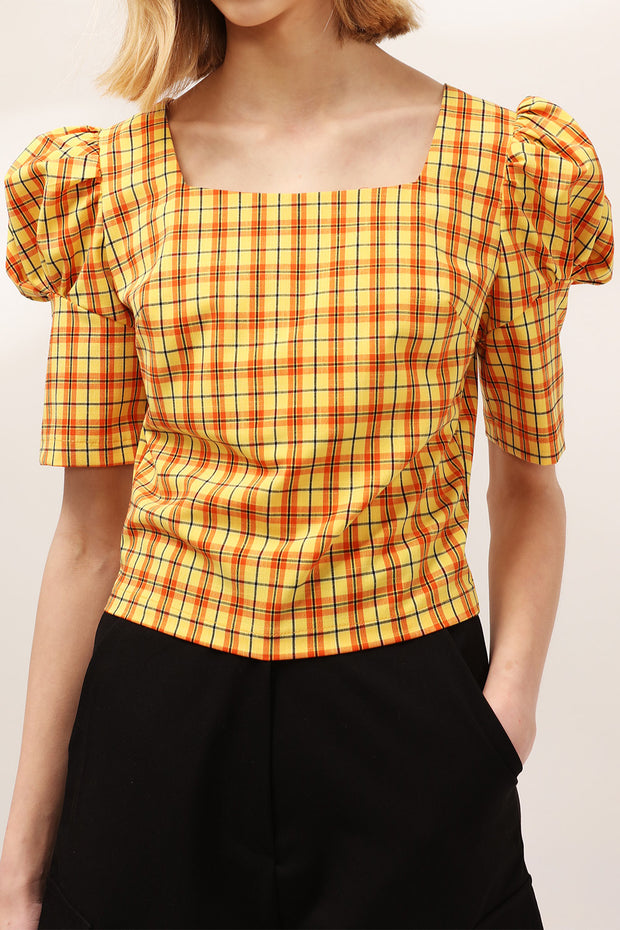 Mila Puff Sleeve Plaid Blouse