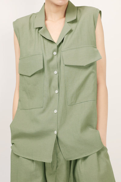 Brianna Notch Collar Sleeveless Shirt