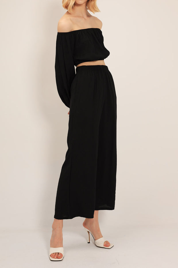 Iris Puffed Top And Wide Pants Set