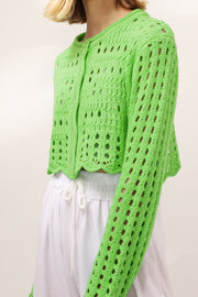 storets.com Aria Fishnet Knit Cropped Cardigan