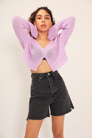 Trinity Ribbed Cropped Cardigan