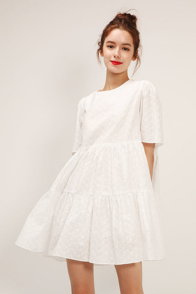 Bella Embroidered Lace Tiered Dress