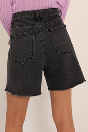 storets.com Phoebe Frayed Hem Denim Shorts