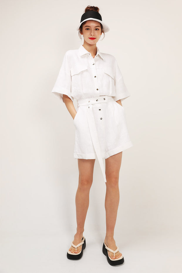 storets.com Ariana Belted Shirt Romper