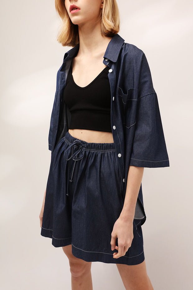 Chloe Drawstring Denim Shorts
