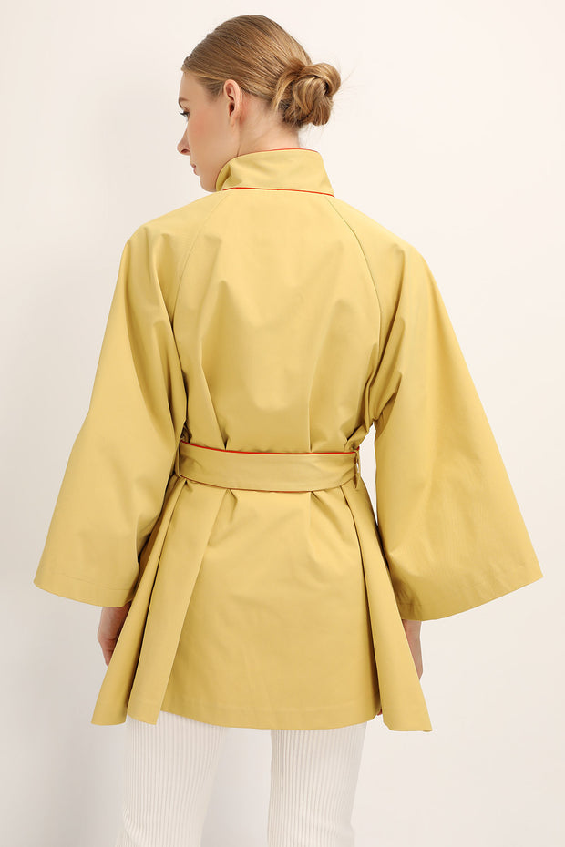 Ophelia Contrast Trim Jacket w/Belt