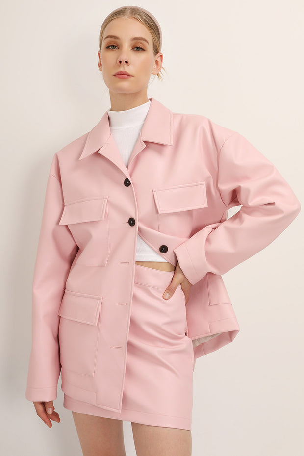 Sadie Flap Pocket Pleather Jacket