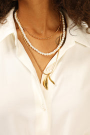 storets.com Pearl Chain Multi Layer Necklace