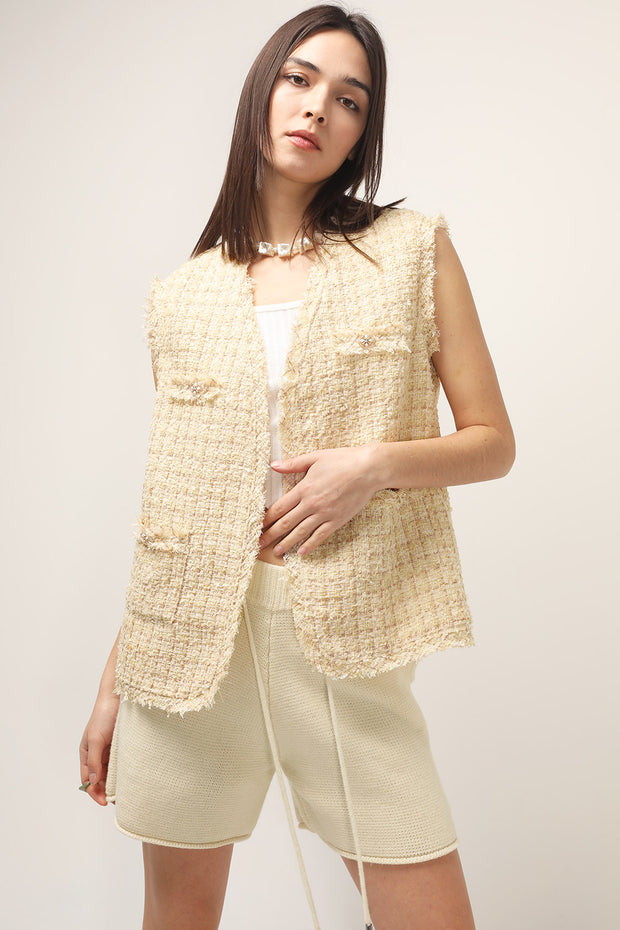storets.com Bonnie Tweed Sleeveless Jacket