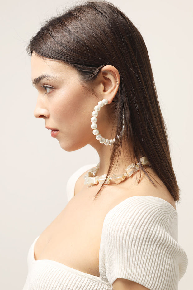 storets.com XL Pearl Hoop Earrings