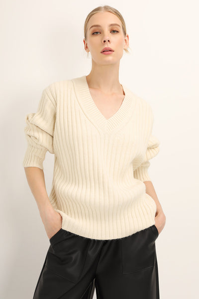 Jenna Ribbed V-neck Sweater