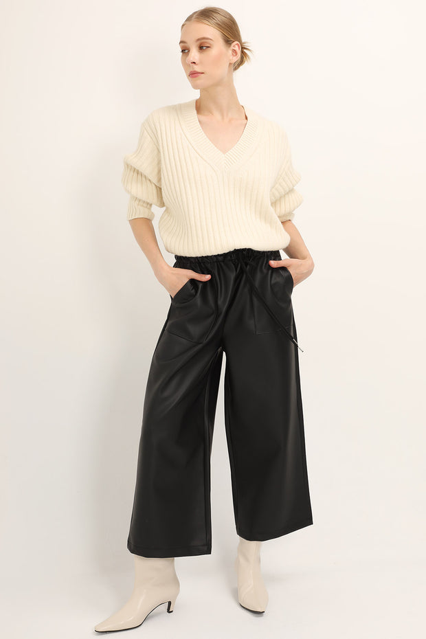 Caroline Pleather Wide Leg Pants