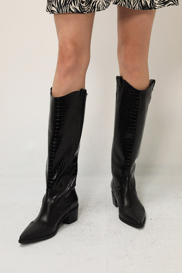 Croc Pleather Boots