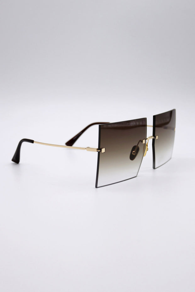 storets.com Square Rimless Sunglasses