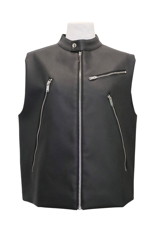 storets.com Romina Pleather Sleeveless Jacket