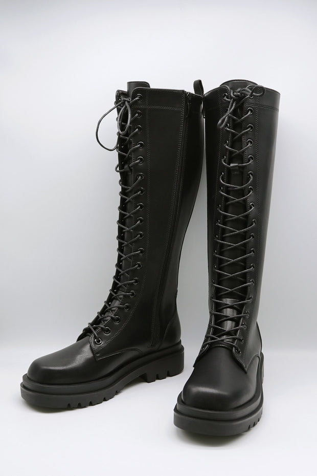 storets.com Lace Up Platform Knee-High Boots