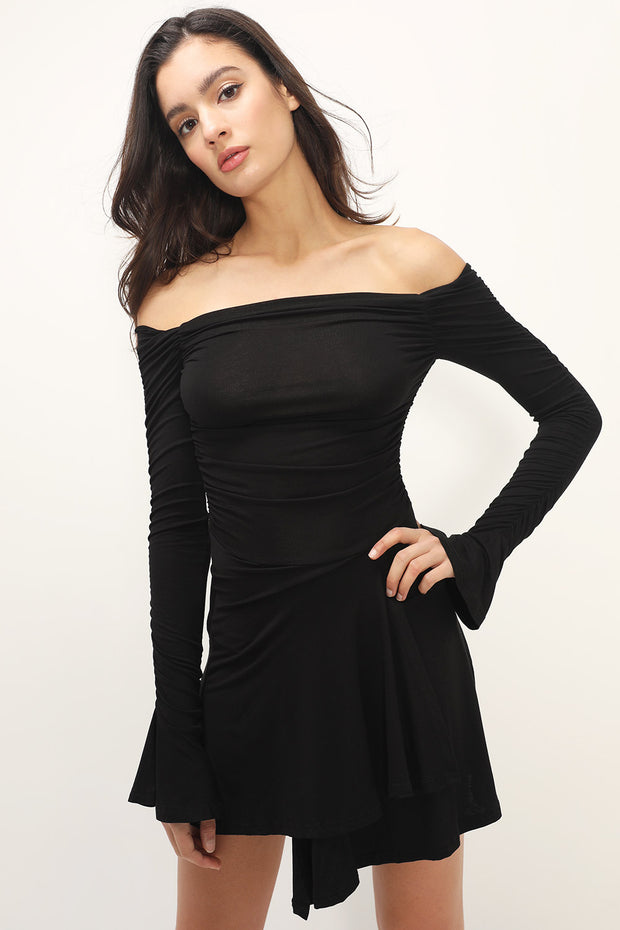 storets.com Lilith Off-the-Shoulder Shirred Dress