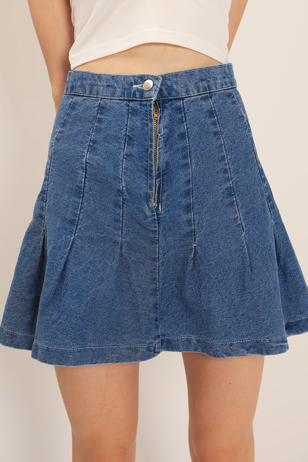 Olive Pleated Denim Skirt