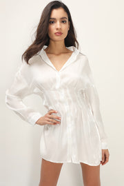 storets.com Bristol Crinkled Satin Shirt Dress