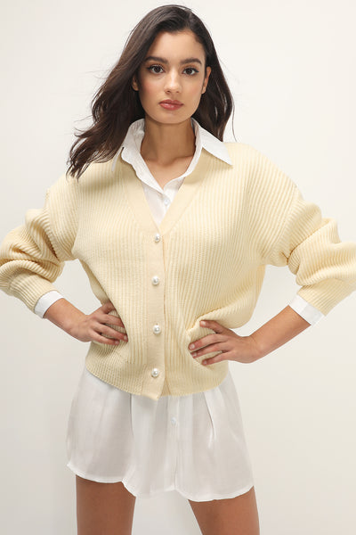 storets.com Abby Ribbed Puffed Cardigan