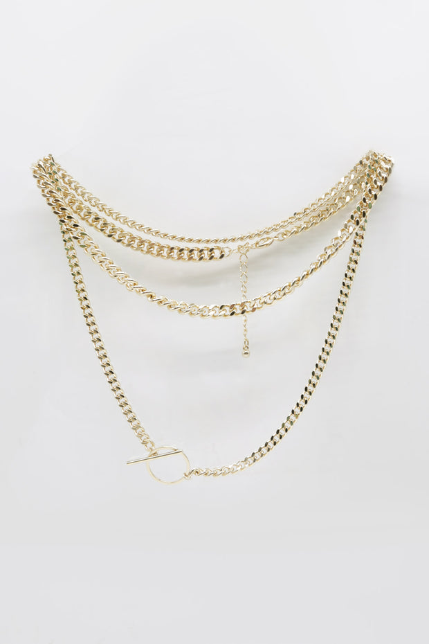 Golden Toggle Statement Necklace