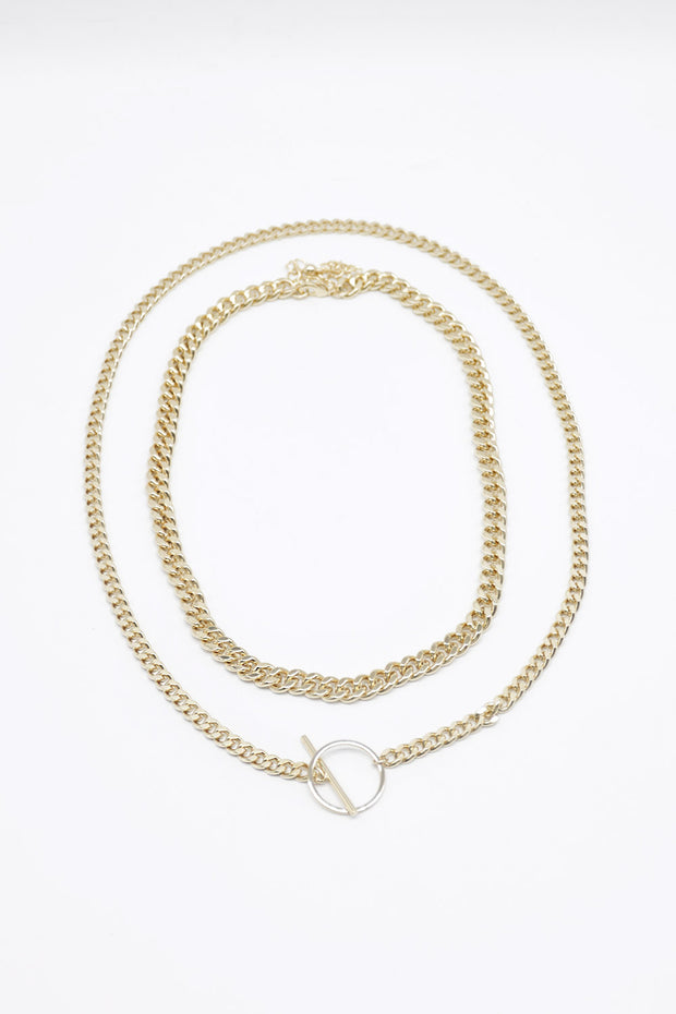 storets.com Golden Toggle Statement Necklace
