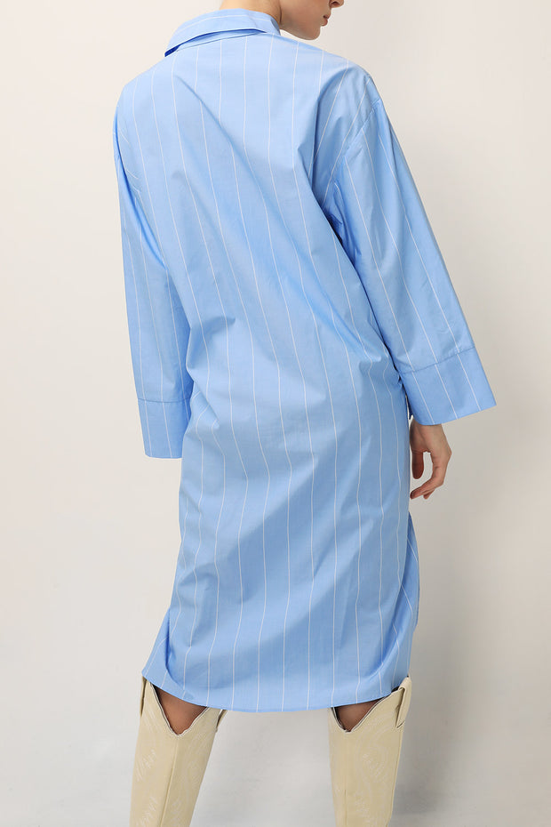 storets.com Briella Striped Maxi Shirt Dress