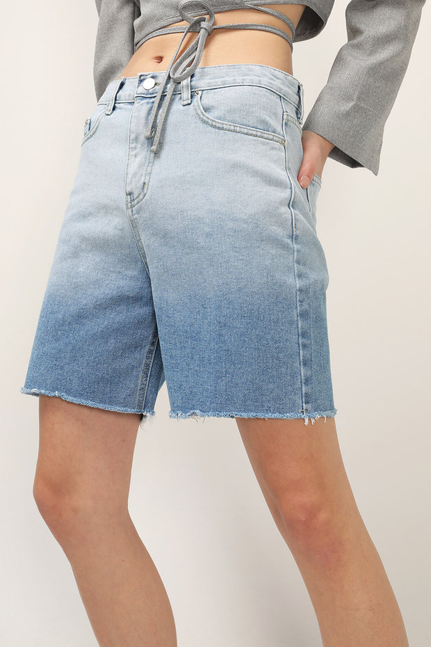 storets.com Baylee Gradient Raw Edge Shorts