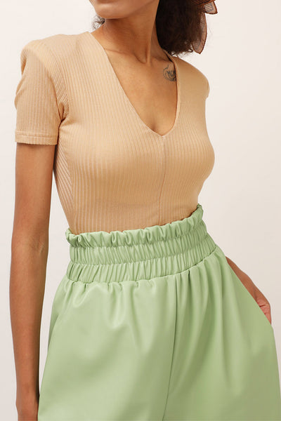 Paula Plunge Ribbed Top