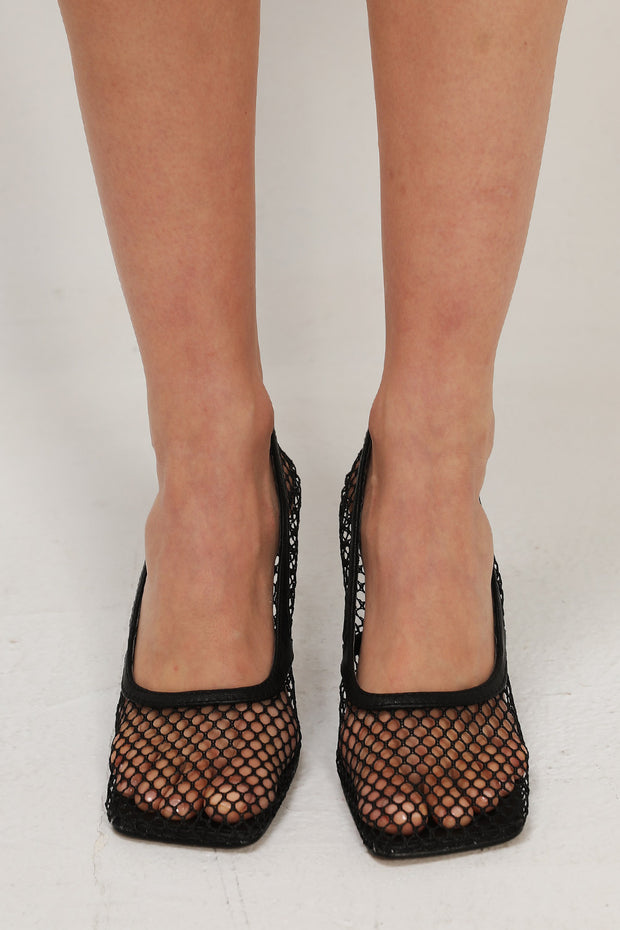 Net Mesh Square Toe Heels