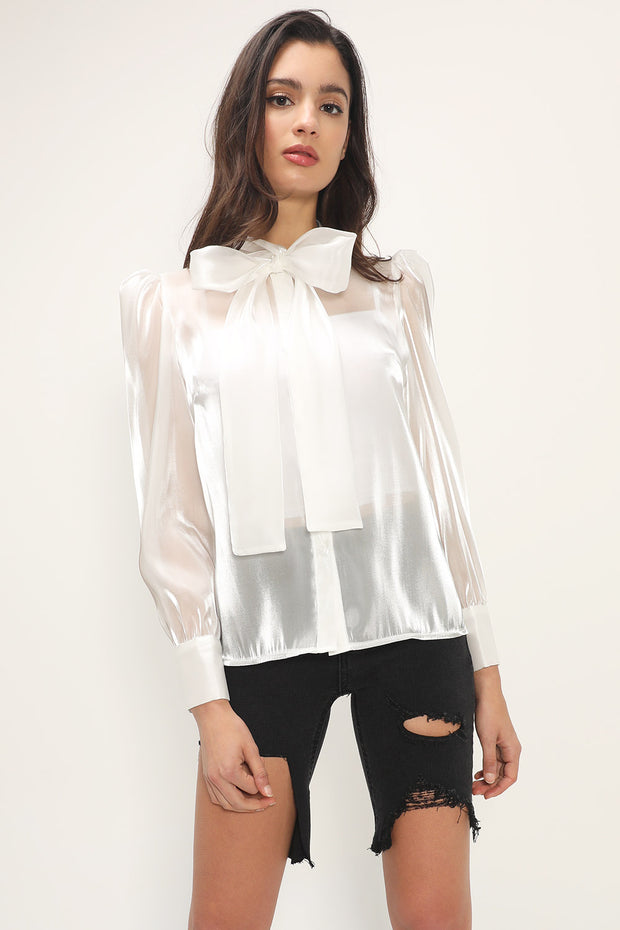 storets.com Imani Sheer Tie Bow Blouse
