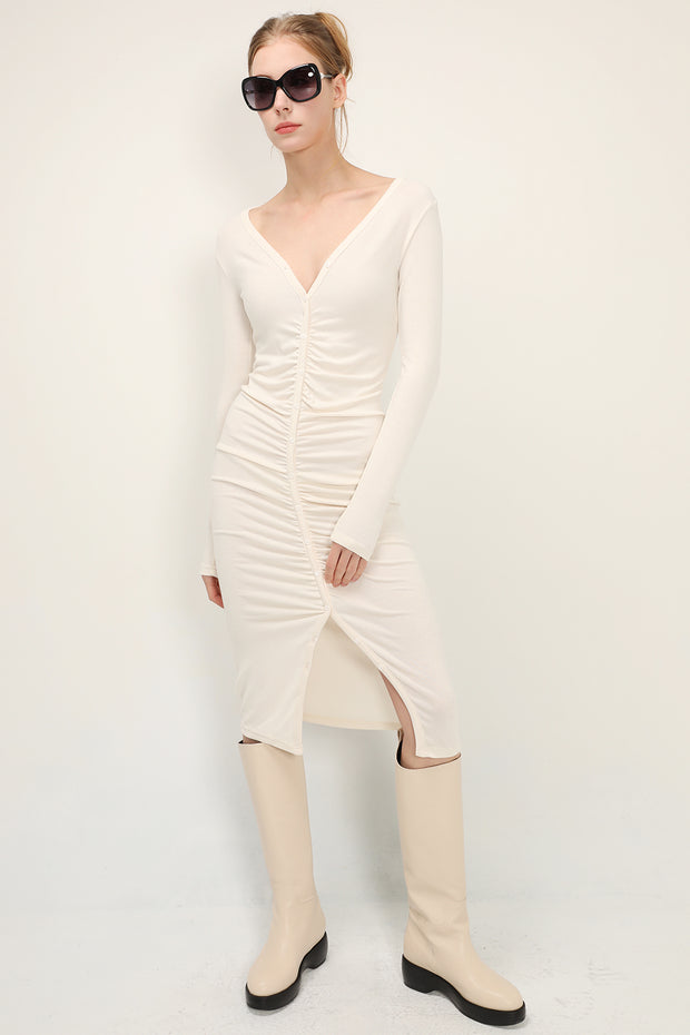 storets.com Evelyn Ruched Knit Dress