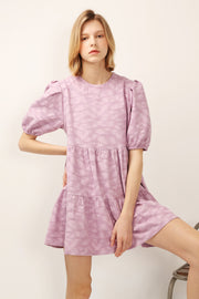 Siena Puff Sleeve Jacquard Dress