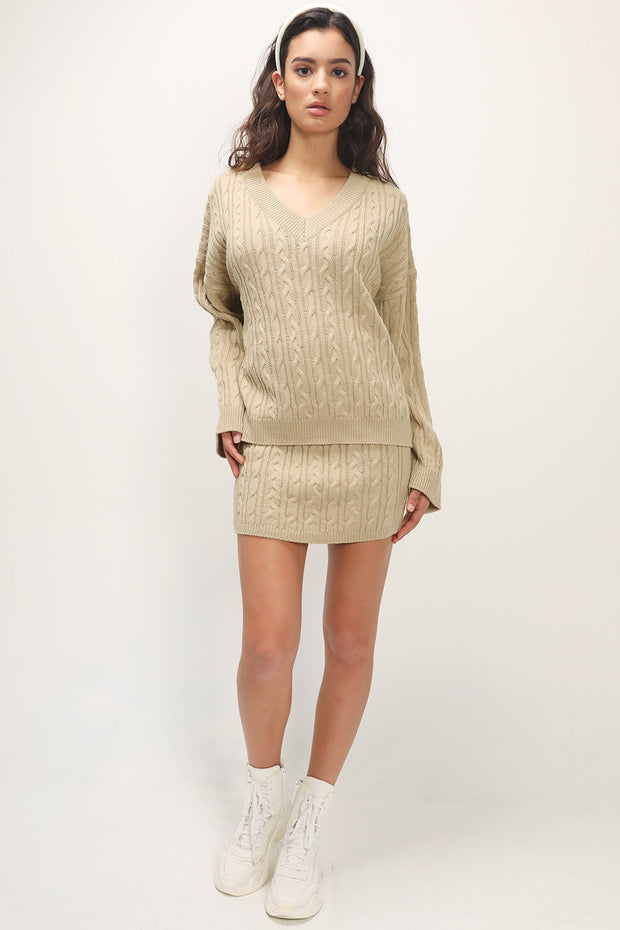 storets.com Fatima Cable Knitted 2-Piece Set