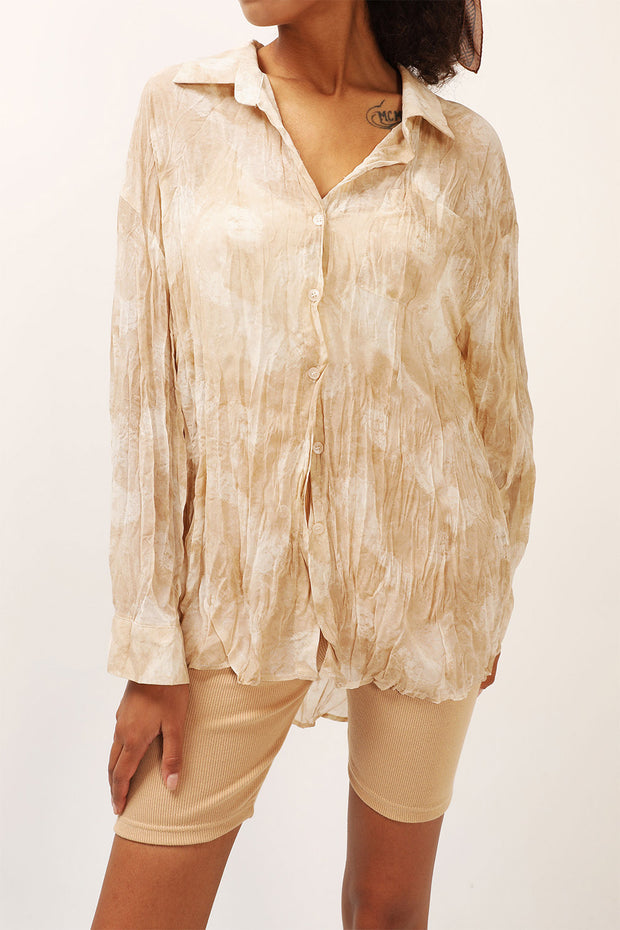 storets.com Skylar Sheer Crinkled Shirt