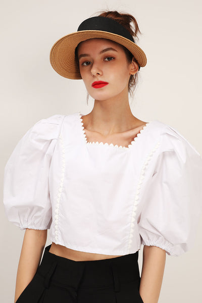 storets.com Amara Lace Trim Puffed Crop Blouse