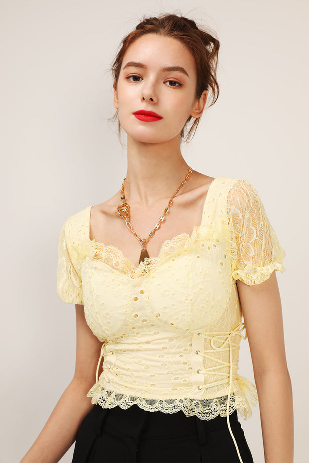 storets.com Taylor Eyelet Lace Crop Top