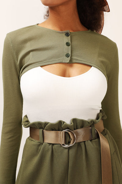Audrey Super Cropped Buttoned Top