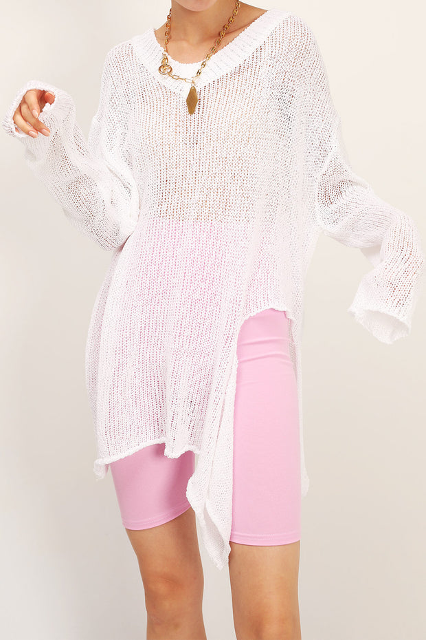 storets.com Charlie Asymmetric Neck Cutout Sweater
