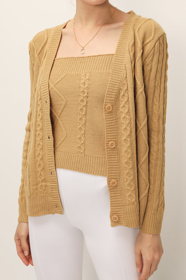 Adelyn Cable Knit Cardigan 2-Piece Set