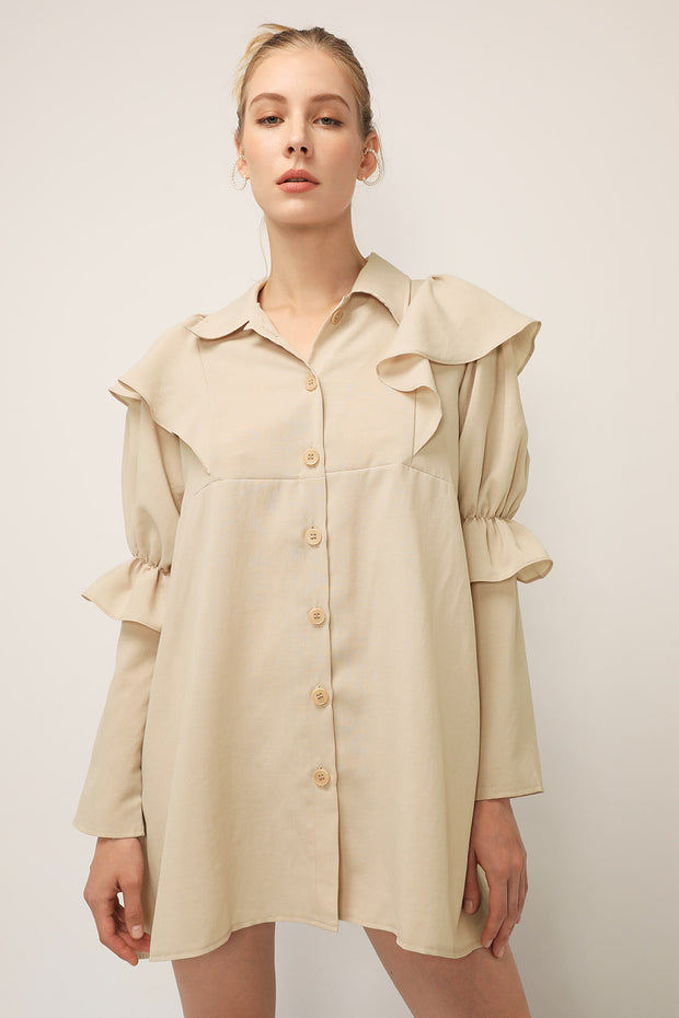 storets.com Wendy Ruffled Shirt Dress