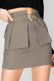 Izabel Wide Pleats Belted Skirt-2 Colors