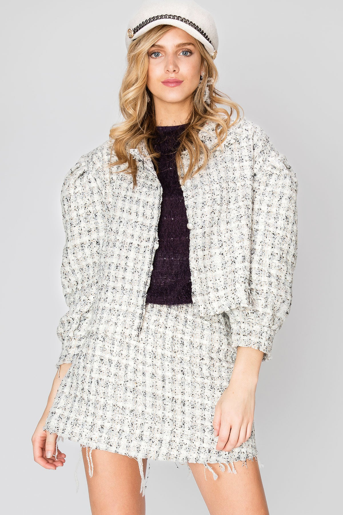 Jessie Raw Edge Tweed Jacket-2 Colors