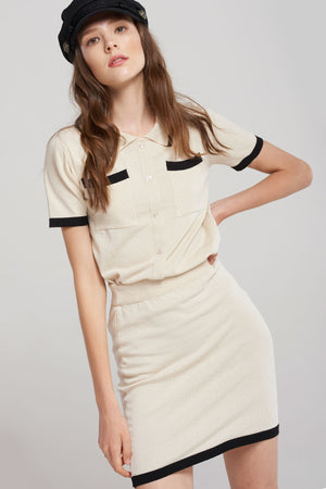 Judith Contrast Lined Top And Skirt Set-Beige