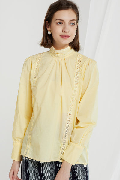 Juniper Mock Neck Lace Trim Blouse