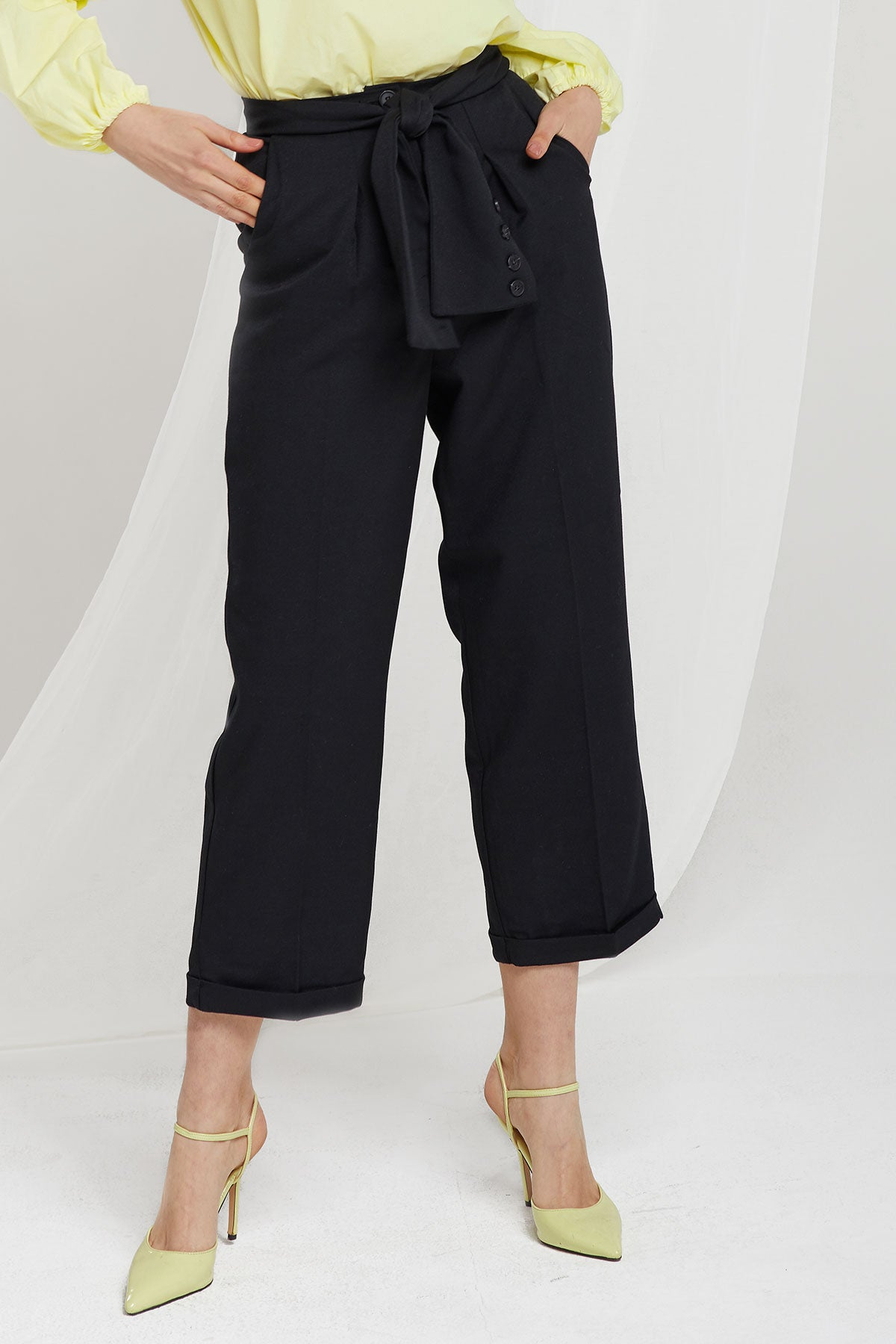 Kamila Cuff Ankle Pants w/ Sash Belt