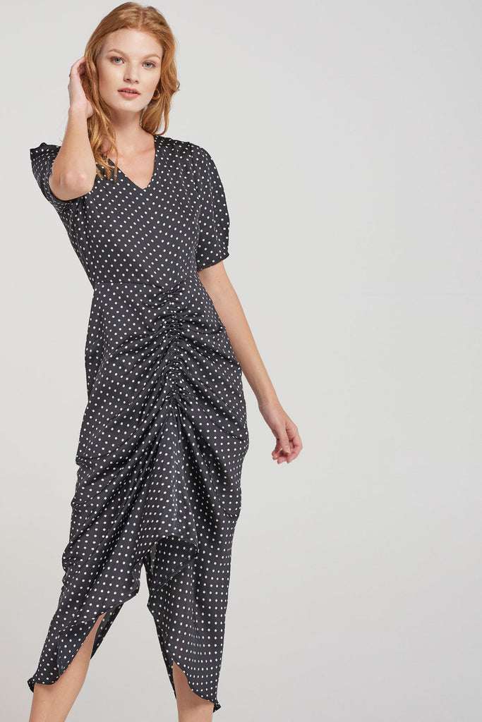 Kendall Dotted Squeeze Dress-Black